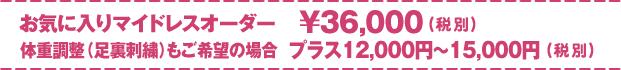 お気に入りマイドレスオーダー 30000円(税別)