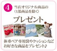 4)当店オリジナル商品のプレゼント(1部商品を除く)